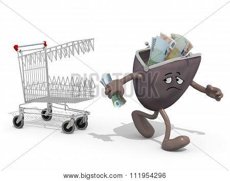 Shopping Cart Biting Savings Purse