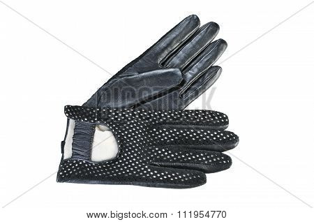 Women Gloves On A White. Black Leather Gloves.