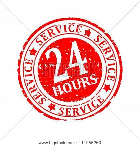 Damaged Round Seal With The Inscription - Service 24 Hours - Illustration
