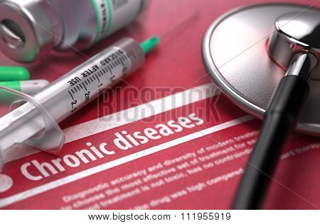 Chronic diseases. Medical Concept on Red Background.