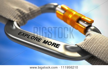 Chrome Carabiner Hook with Text Explore More.