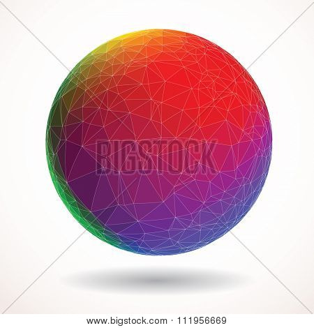 abstract triangulated sphere in rainbow colors