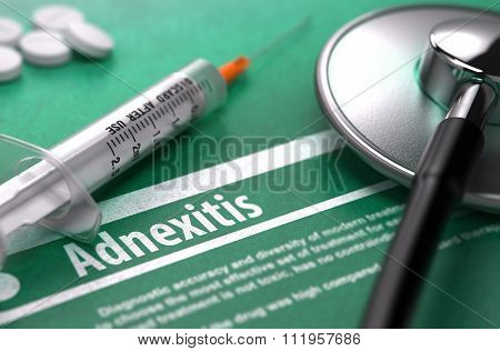 Adnexitis. Medical Concept on Green Background.
