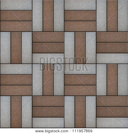 Brown and Gray Paving of Rectangular Shape.