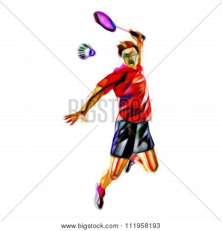 Polygonal professional badminton player isolated on white