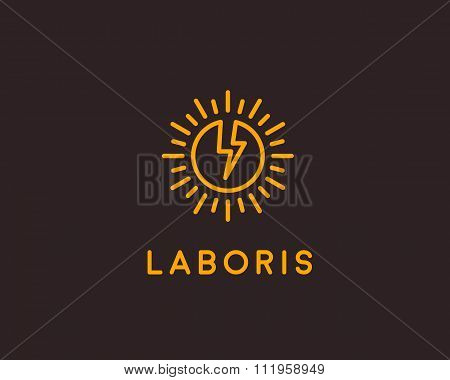 Flash logo design template. Lined globe icon. Abstract sun symbol. Energy modern sign. breakthrough