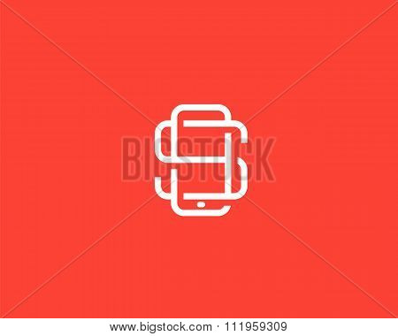 Letter S logo design. Smartphone lined symbol. Mobile phone creative sign. Phablet, Tablet PC, gadge