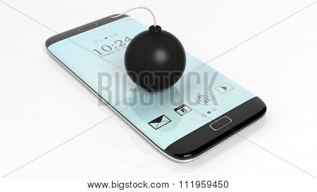 Black cannonball bomb on smartphone screen, isolated on white background.