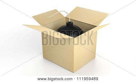 Black cannonball bomb in a box, isolated on white background.