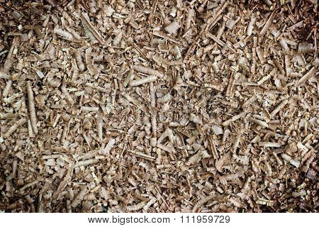 Wood Chip Shaving Or Shredded Mulch Material Texture Background