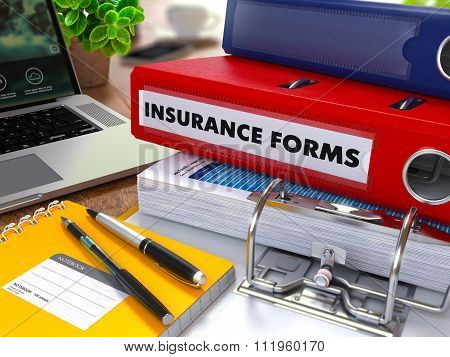 Red Ring Binder with Inscription Insurance Forms.