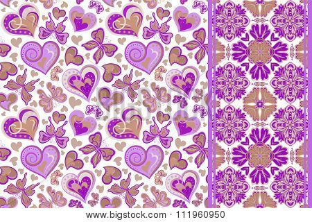 Set of cute seamless vector backgrounds with hearts, butterfly and decorative border tape, ribbon la