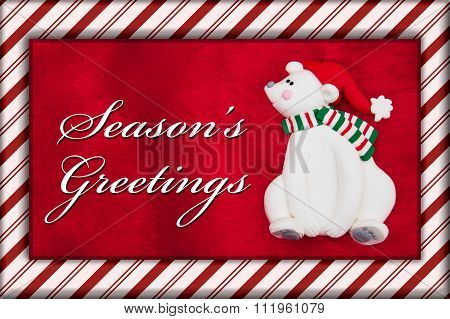 Red Plush Fur And Christmas Bear Christmas Message