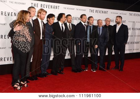 LOS ANGELES - DEC 16:  Revenant Cast, Producers at the The Revenant Los Angeles Premiere at the TCL Chinese Theater on December 16, 2015 in Los Angeles, CA