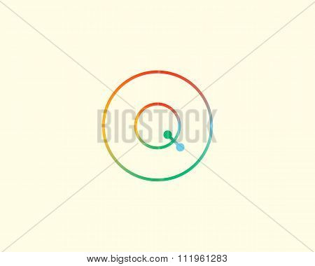 Abstract letter Q logo design template. Colorful lined creative sign. Universal vector icon.