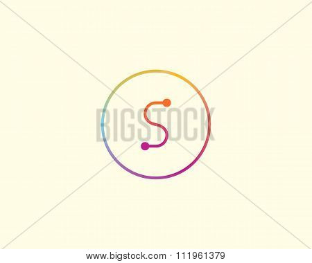 Abstract letter S logo design template. Colorful lined creative sign. Universal vector icon.