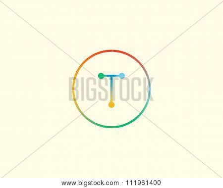Abstract letter T logo design template. Colorful lined creative sign. Universal vector icon.
