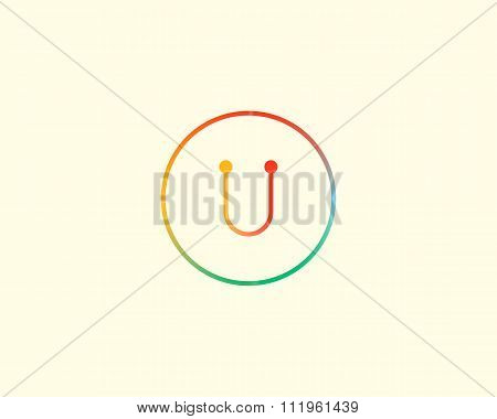 Abstract letter U logo design template. Colorful lined creative sign. Universal vector icon.