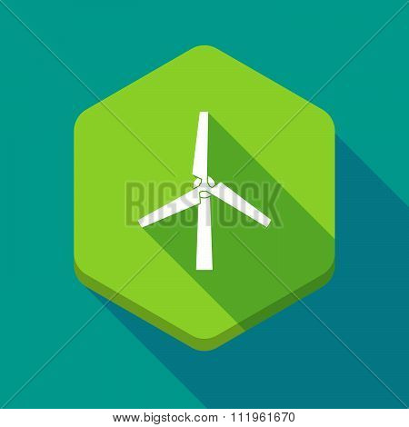 Long Shadow Hexagon Icon With A Wind Generator