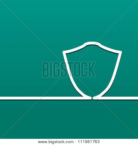 Symbol Shield. Icon Defense And Security On A Green Background.