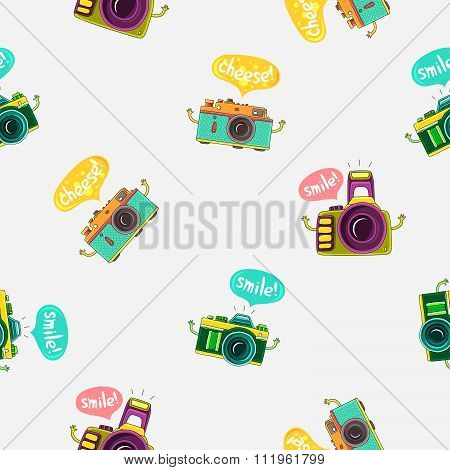 Seamless vector pattern of colorful camera