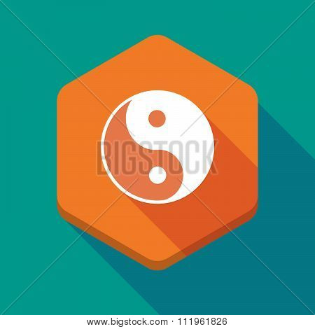 Long Shadow Hexagon Icon With A Ying Yang