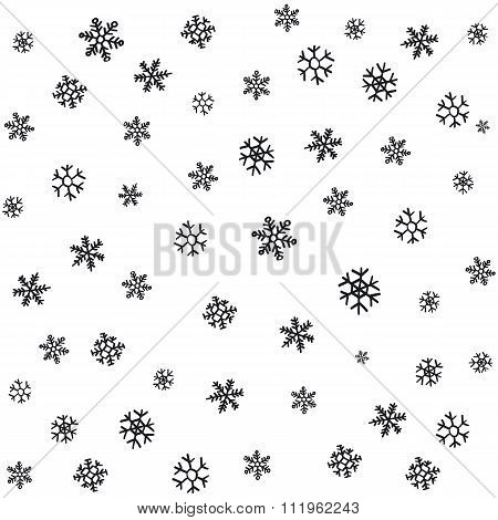 Hand Drawn Snowflakes Christmas Ornaments Made From Decorative Snowflakes Vector Sketch Illustration