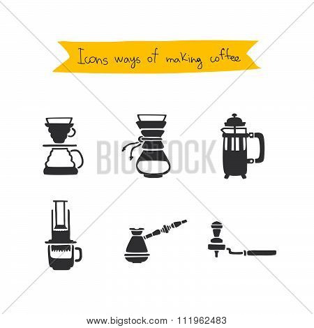 Methods of preparing coffee. Vector