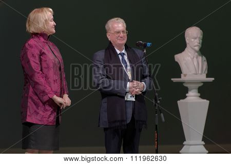 ST. PETERSBURG, RUSSIA - DECEMBER 16, 2015: Director of the Hermitage Museum Mikhail Piotrovsky (center) during the closing ceremony of 4th St. Petersburg International Cultural Forum