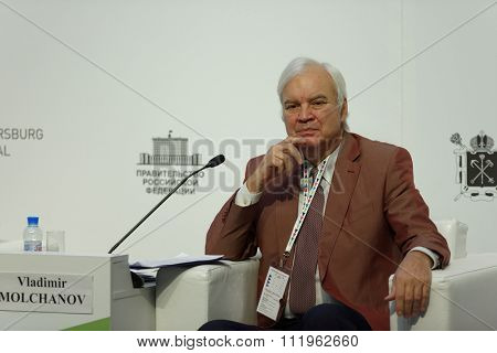 ST. PETERSBURG, RUSSIA - DECEMBER 14, 2015: Showman Vladimir Molchanov at the plenary meeting during 4th St. Petersburg International Cultural Forum