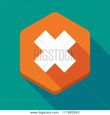 Long Shadow Hexagon Icon With An Irritating Substance Sign