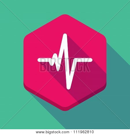 Long Shadow Hexagon Icon With A Heart Beat Sign
