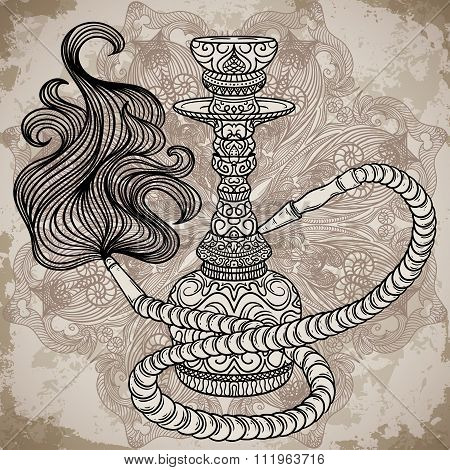 Hookah with oriental ornament and smoke over ornate mandala on aged paper background.Vintage vector