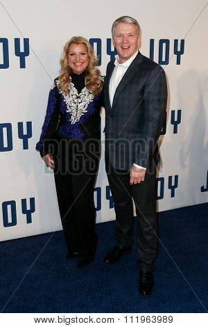 NEW YORK-DEC 13: HSN CEO & Director Mindy Grossman (L) and HSN President and Chief Marketing Officer Bill Brand attend the