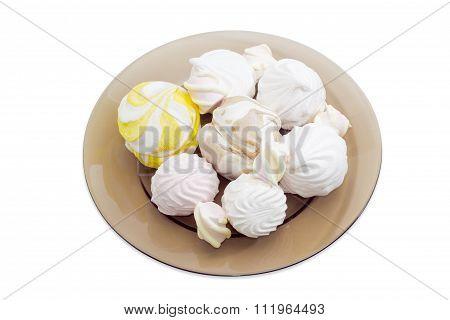 Various Zefir And Marshmallow On A Dark Glass Dish
