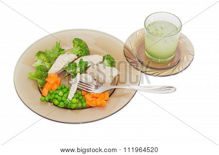 Dietary Dish Of Boiled Meat And Vegetables And Broth