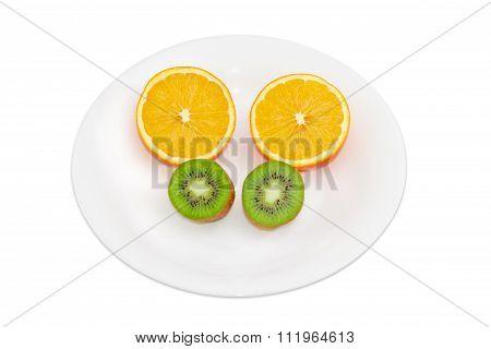 Two Halves Of Orange And Two Halves Of Kiwifruit