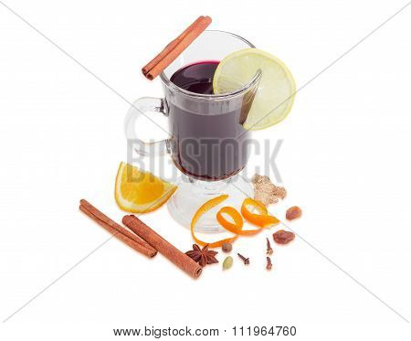 Mulled Wine With Slice Of Lemon And Mulling Spices