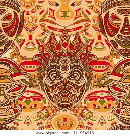 Seamless pattern with collection of Tribal mask. Retro colorful highly detailed hand drawn vector il