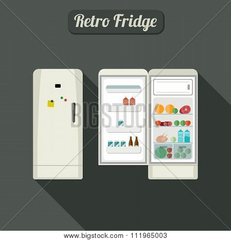 Fridge closed and open.