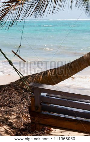 Wooden Bench Swing next to a palm tree in front of the caribbean white sand beach ocean on little co