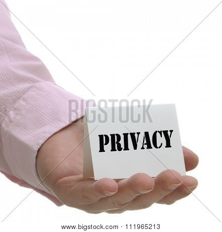 Business man holding privacy sign on hand
