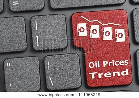 Red oil prices trend key on keyboard