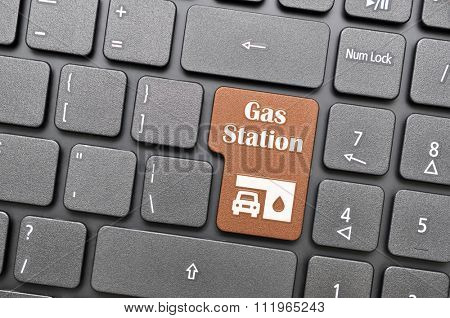 Gunmental gas station key on keyboard
