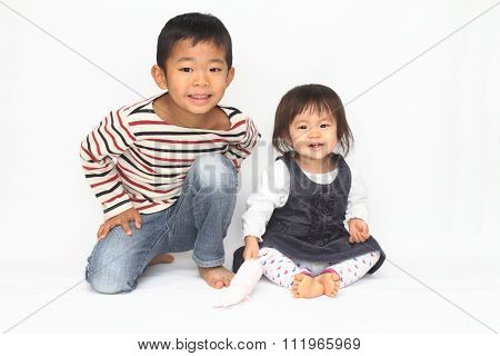 Japanese brother and sister (6 years old boy and 1 year old girl)