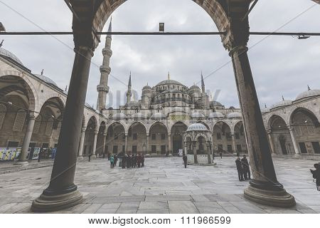 Istanbul, Turkey - December 13, 2015: The Blue Mosque, (sultanahmet Camii), Istanbul, Turkey.