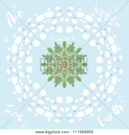 Circle Pattern With Trees And Clouds Eco Planet