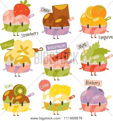 vector cute comic cartoon ice-cream flavors. Labels stickers avatars or menu illustrations. Strawberry, chocolate, orange, vanilla, watermelon, mint, kiwi, lemon, blueberry