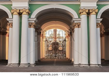 View From The Courtyard Through The Gates Of Winter Palace (hermitage) At Palace Square In St. Peter