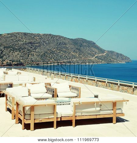 Terrace Seaview With Lounge Sofa And Armchair In A Luxury Resort(crete, Greece)